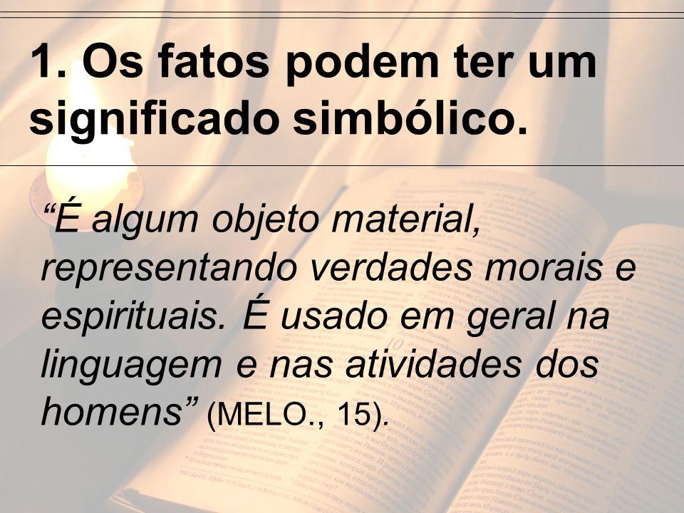 1. Os fatos podem ter um significado simbólico. É algum objeto material, representando verdades morais e espirituais. É usado em geral na linguagem e