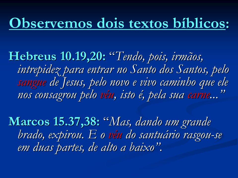: Observemos dois textos bíblicos : Hebreus 10.19,20: Tendo, pois, irmãos, intrepidez para entrar no Santo dos Santos, pelo sangue de Jesus, pelo novo