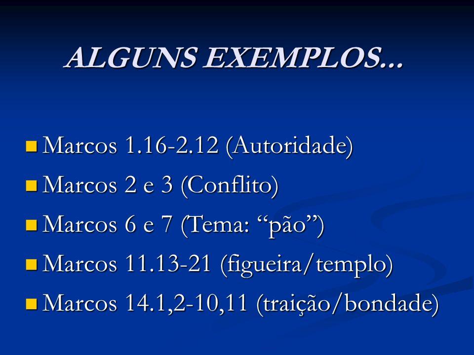 ALGUNS EXEMPLOS... Marcos 1.16-2.12 (Autoridade) Marcos 1.16-2.12 (Autoridade) Marcos 2 e 3 (Conflito) Marcos 2 e 3 (Conflito) Marcos 6 e 7 (Tema: pão