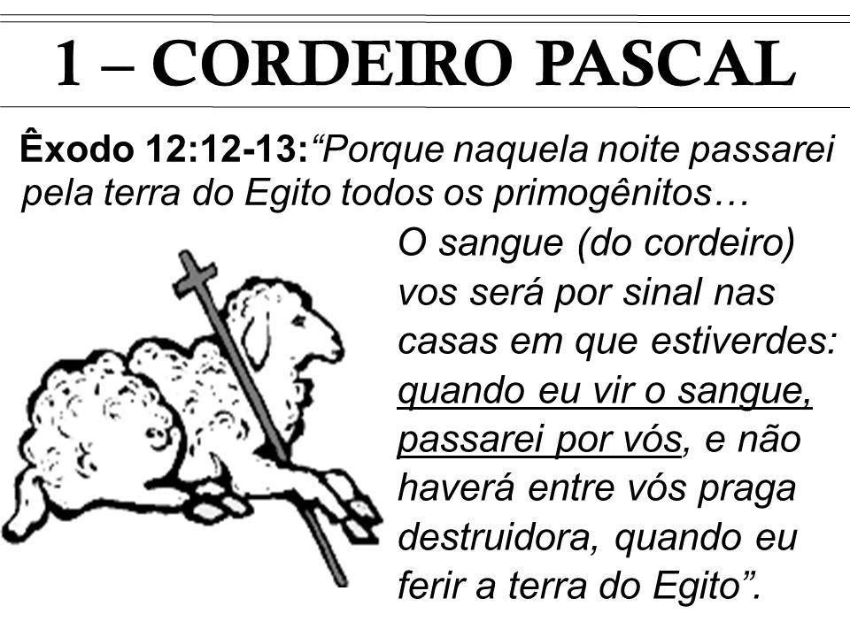 1 – CORDEIRO PASCAL Êxodo 12:12-13:Porque naquela noite passarei pela terra do Egito todos os primogênitos… O sangue (do cordeiro) vos será por sinal