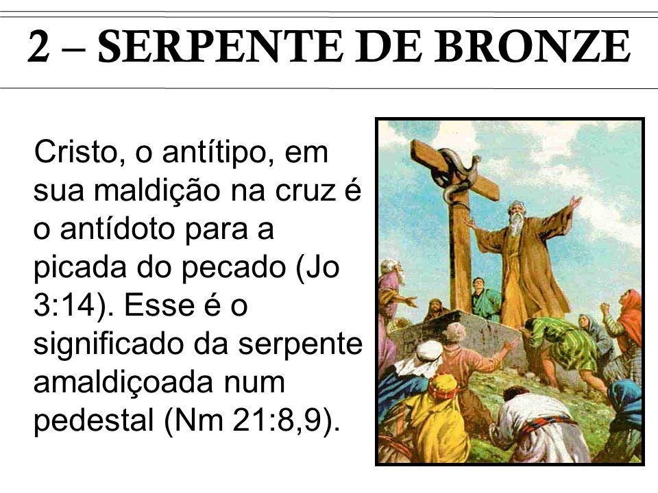 Cristo, o antítipo, em sua maldição na cruz é o antídoto para a picada do pecado (Jo 3:14). Esse é o significado da serpente amaldiçoada num pedestal