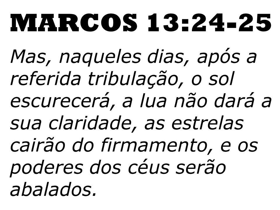 Mas, naqueles dias, após a referida tribulação, o sol escurecerá, a lua não dará a sua claridade, as estrelas cairão do firmamento, e os poderes dos c