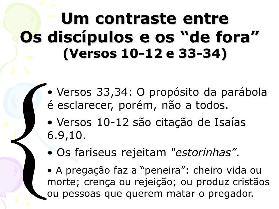 Um contraste entre Um contraste entre Os discípulos e os de fora (Versos 10-12 e 33-34) Versos 33,34: O propósito da parábola é esclarecer, porém, não