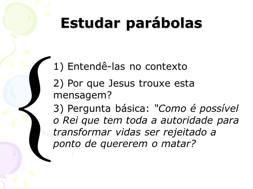 Estudar parábolas Estudar parábolas 1) Entendê-las no contexto 2) Por que Jesus trouxe esta mensagem? 3) Pergunta básica: Como é possível o Rei que te