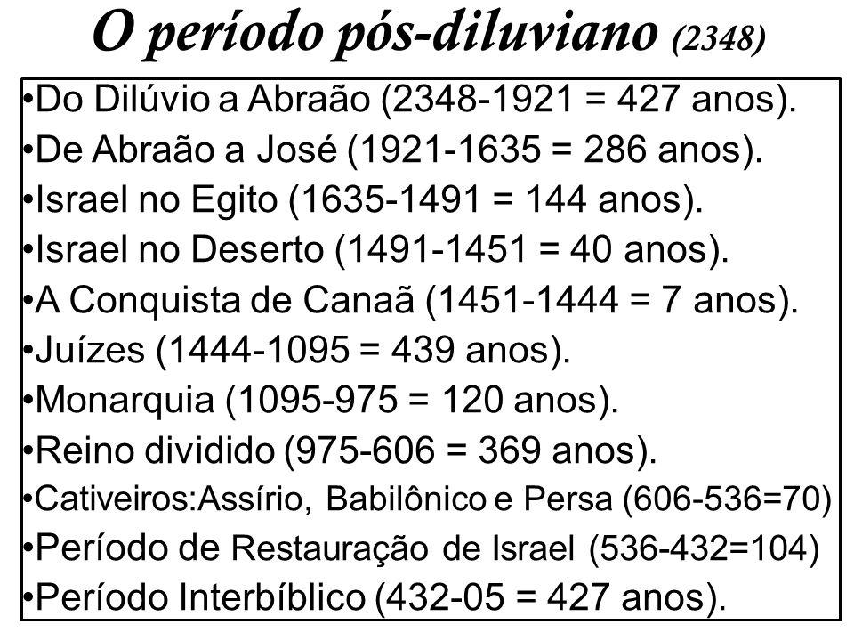 O período pós-diluviano (2348) Do Dilúvio a Abraão (2348-1921 = 427 anos). De Abraão a José (1921-1635 = 286 anos). Israel no Egito (1635-1491 = 144 a