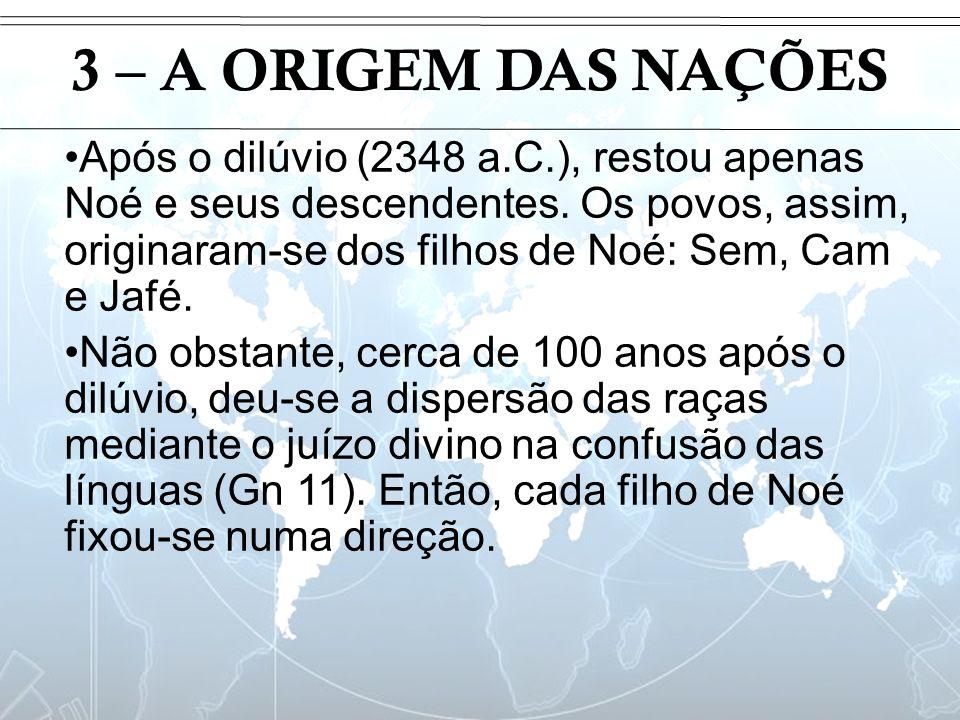 Introdução 3 – A ORIGEM DAS NAÇÕES Após o dilúvio (2348 a.C.), restou apenas Noé e seus descendentes. Os povos, assim, originaram-se dos filhos de Noé