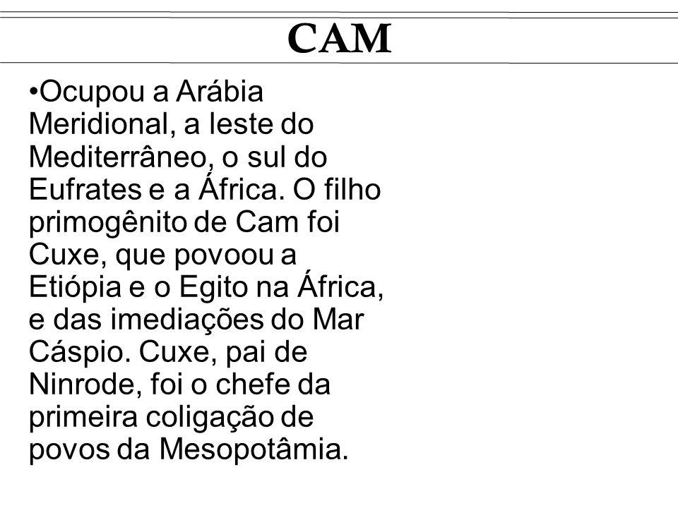 CAM Ocupou a Arábia Meridional, a leste do Mediterrâneo, o sul do Eufrates e a África. O filho primogênito de Cam foi Cuxe, que povoou a Etiópia e o E