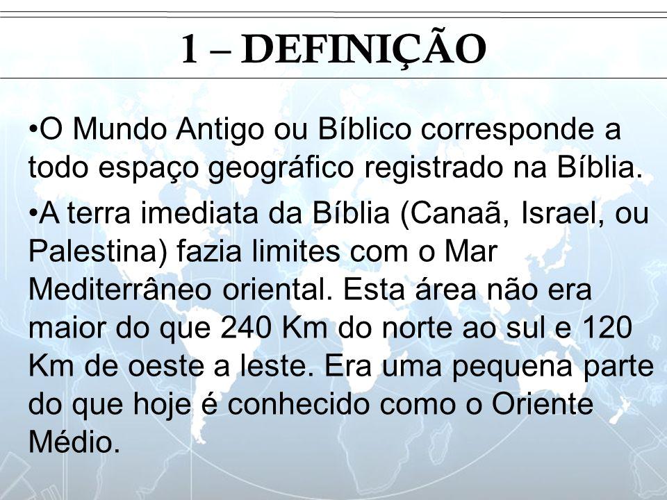 Introdução 1 – DEFINIÇÃO O Mundo Antigo ou Bíblico corresponde a todo espaço geográfico registrado na Bíblia. A terra imediata da Bíblia (Canaã, Israe
