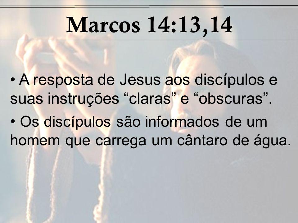 A resposta de Jesus aos discípulos e suas instruções claras e obscuras. Os discípulos são informados de um homem que carrega um cântaro de água. Marco