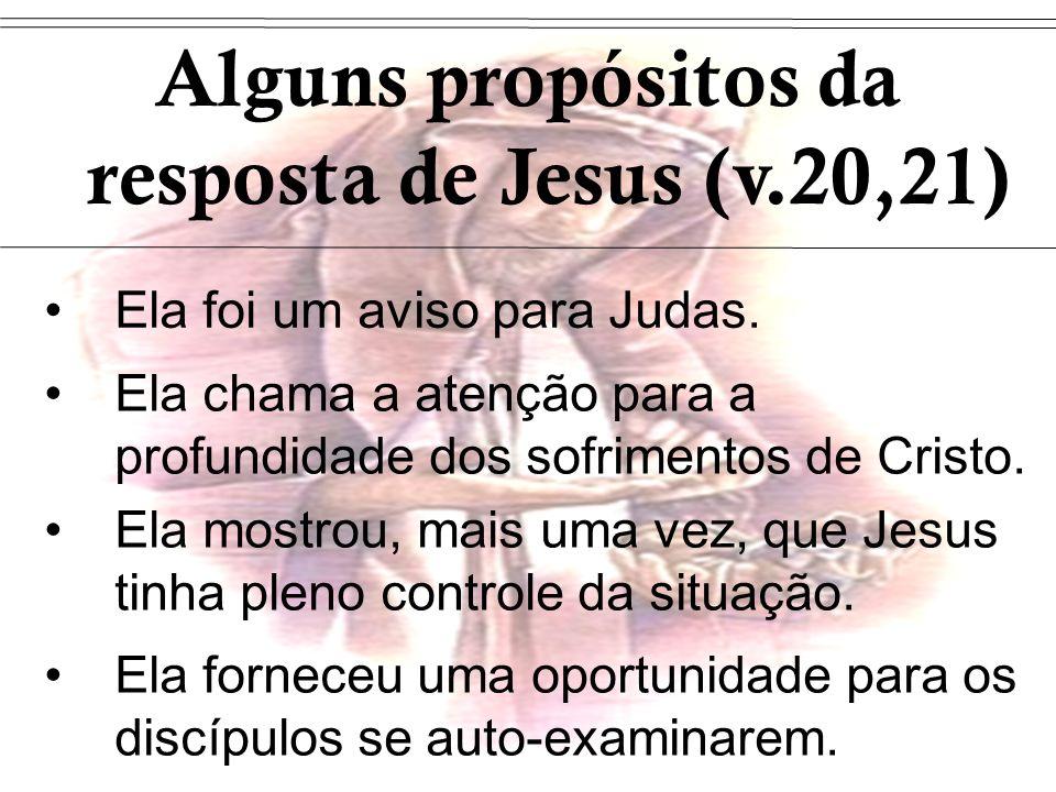 Ela foi um aviso para Judas. Ela chama a atenção para a profundidade dos sofrimentos de Cristo. Ela mostrou, mais uma vez, que Jesus tinha pleno contr