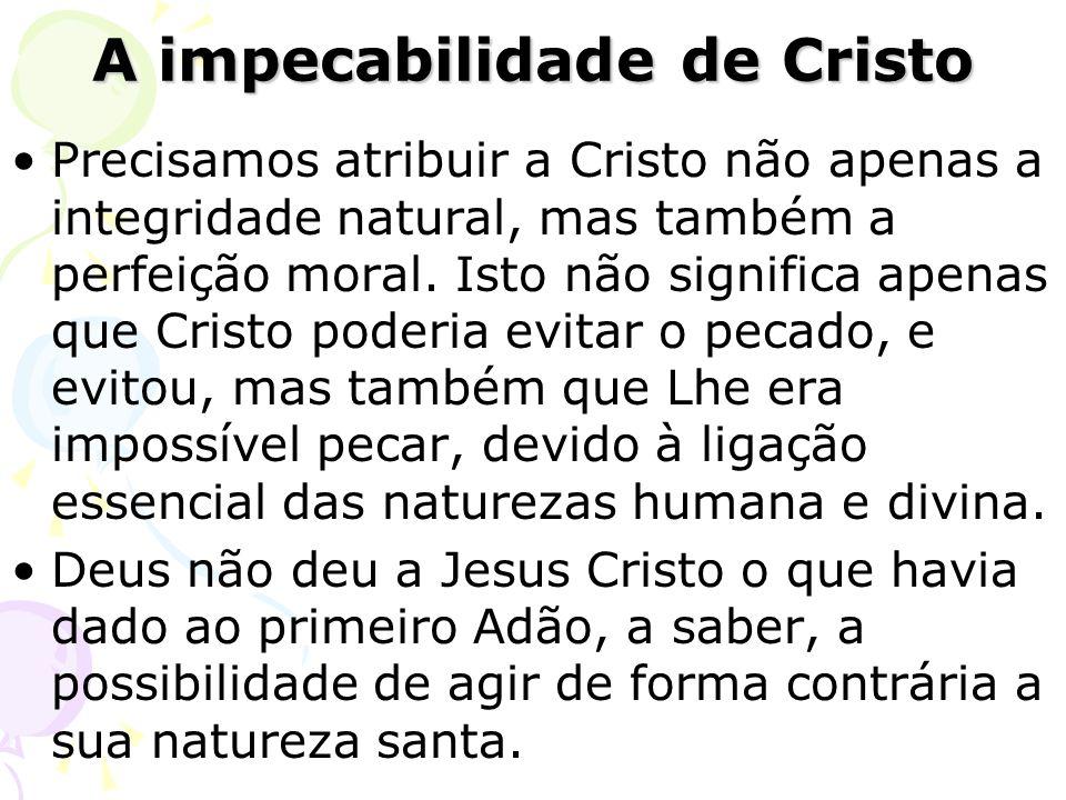 Precisamos atribuir a Cristo não apenas a integridade natural, mas também a perfeição moral. Isto não significa apenas que Cristo poderia evitar o pec