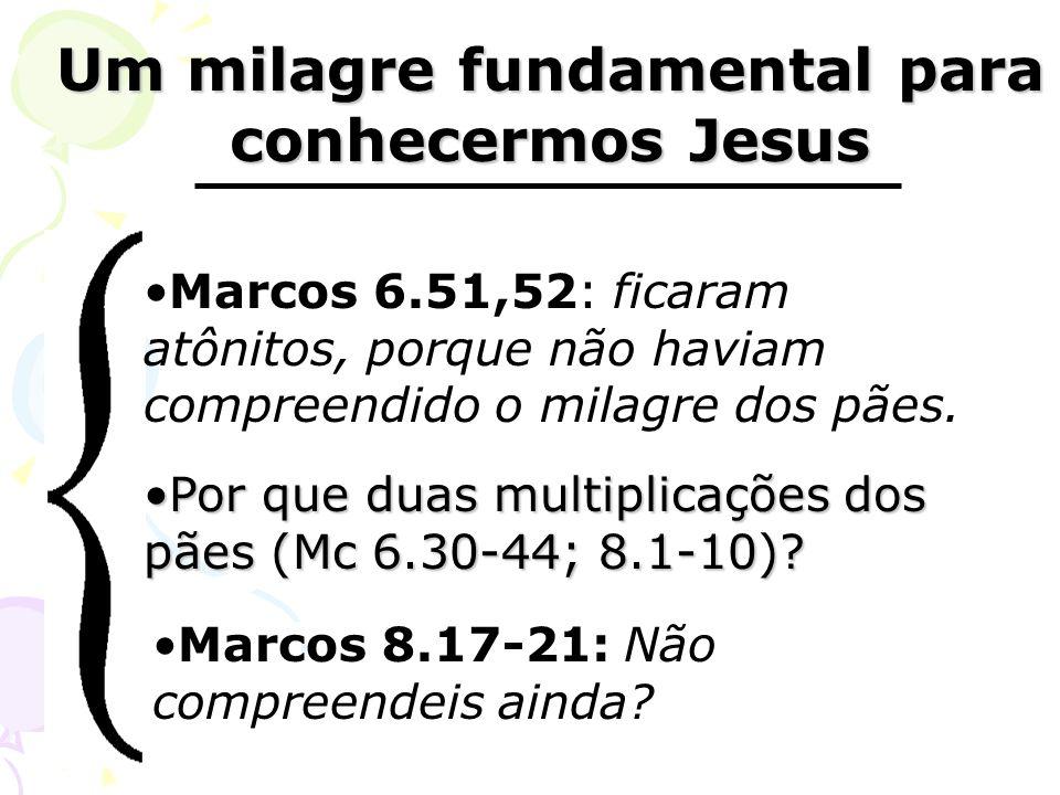Um milagre fundamental para conhecermos Jesus Um milagre fundamental para conhecermos Jesus Marcos 6.51,52: ficaram atônitos, porque não haviam compre