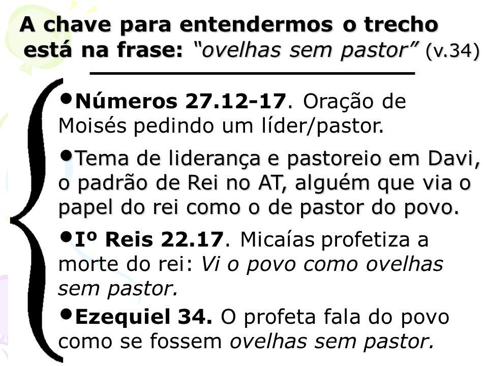 A chave para entendermos o trecho está na frase: ovelhas sem pastor (v.34) A chave para entendermos o trecho está na frase: ovelhas sem pastor (v.34)