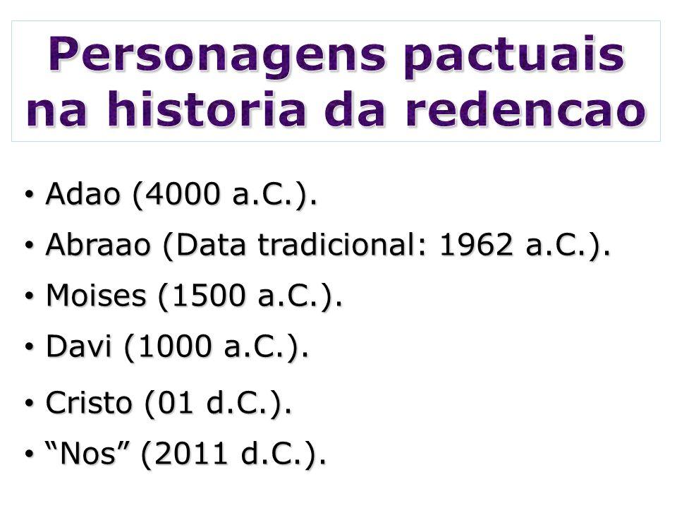 Adao (4000 a.C.). Adao (4000 a.C.). Abraao (Data tradicional: 1962 a.C.). Abraao (Data tradicional: 1962 a.C.). Moises (1500 a.C.). Moises (1500 a.C.)