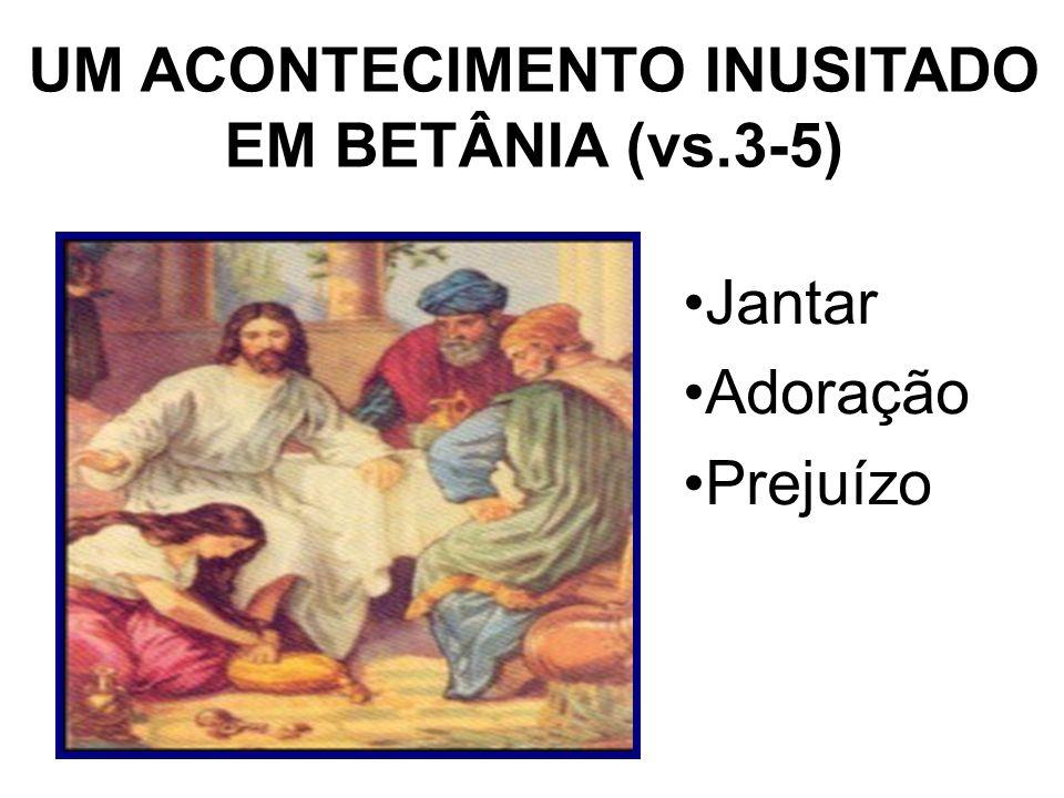UM ACONTECIMENTO INUSITADO EM BETÂNIA (vs.3-5) Jantar Adoração Prejuízo