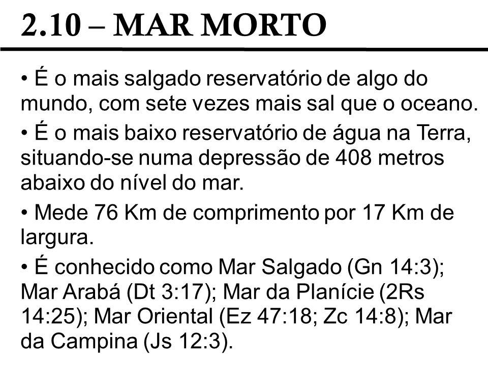 2.10 – MAR MORTO É o mais salgado reservatório de algo do mundo, com sete vezes mais sal que o oceano. É o mais baixo reservatório de água na Terra, s