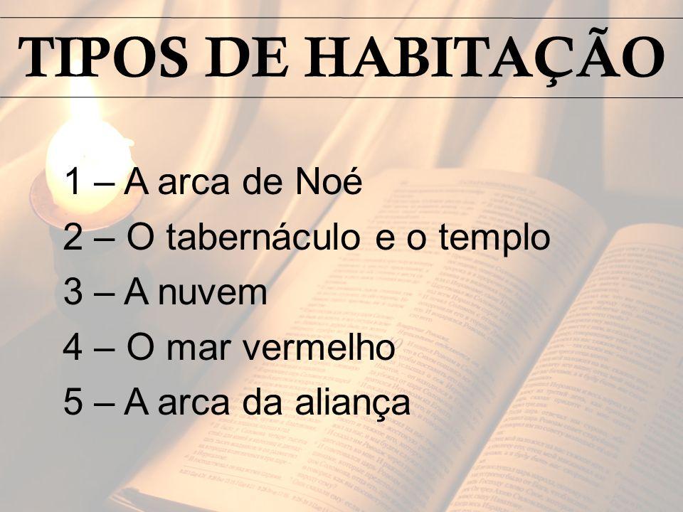 1 – A arca de Noé 2 – O tabernáculo e o templo 3 – A nuvem 4 – O mar vermelho 5 – A arca da aliança TIPOS DE HABITAÇÃO