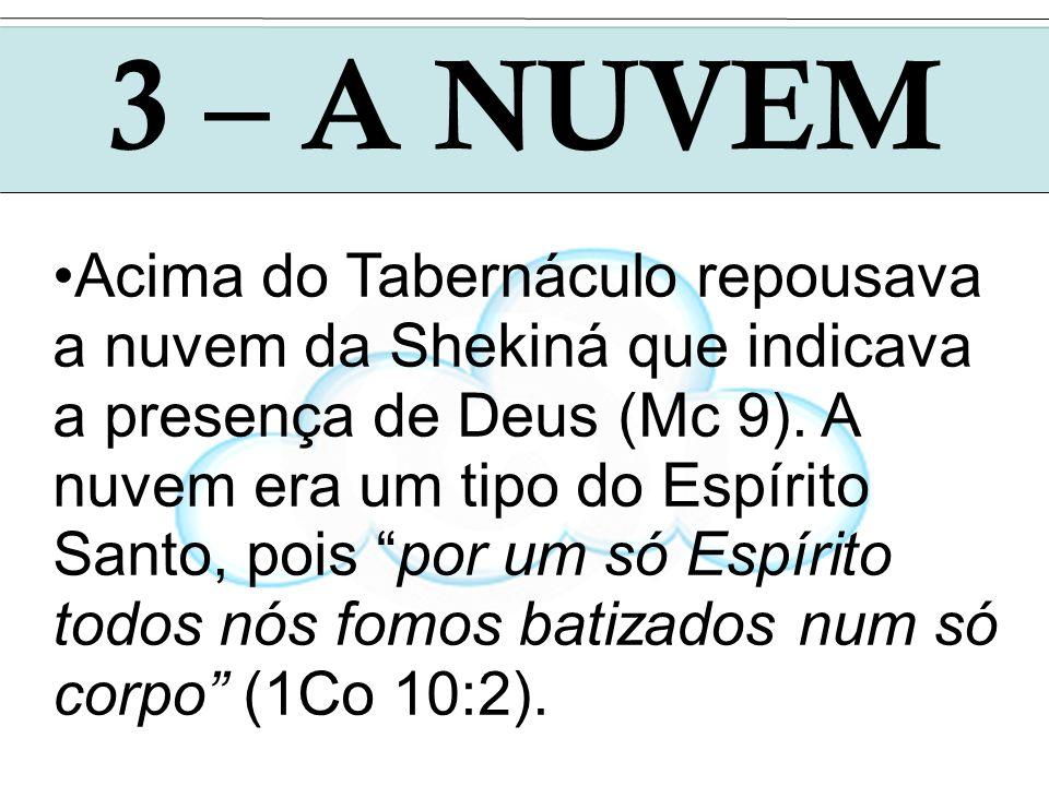 3 – A NUVEM Acima do Tabernáculo repousava a nuvem da Shekiná que indicava a presença de Deus (Mc 9). A nuvem era um tipo do Espírito Santo, pois por