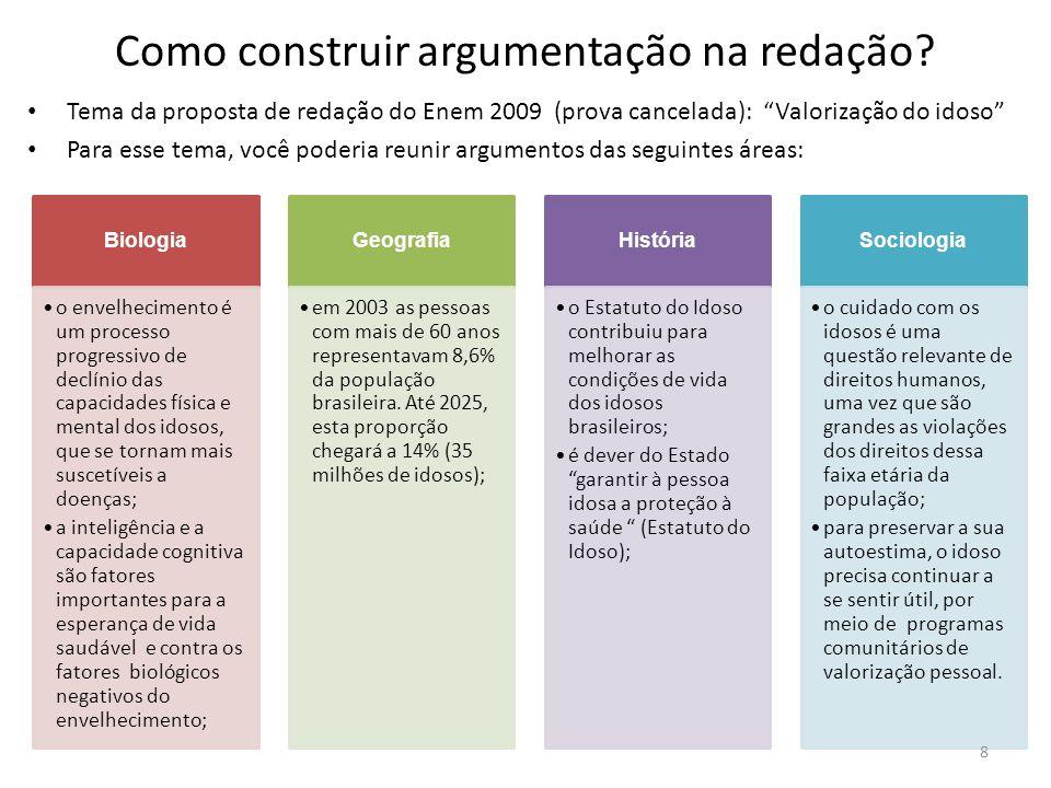 Como construir argumentação na redação? Tema da proposta de redação do Enem 2009 (prova cancelada): Valorização do idoso Para esse tema, você poderia
