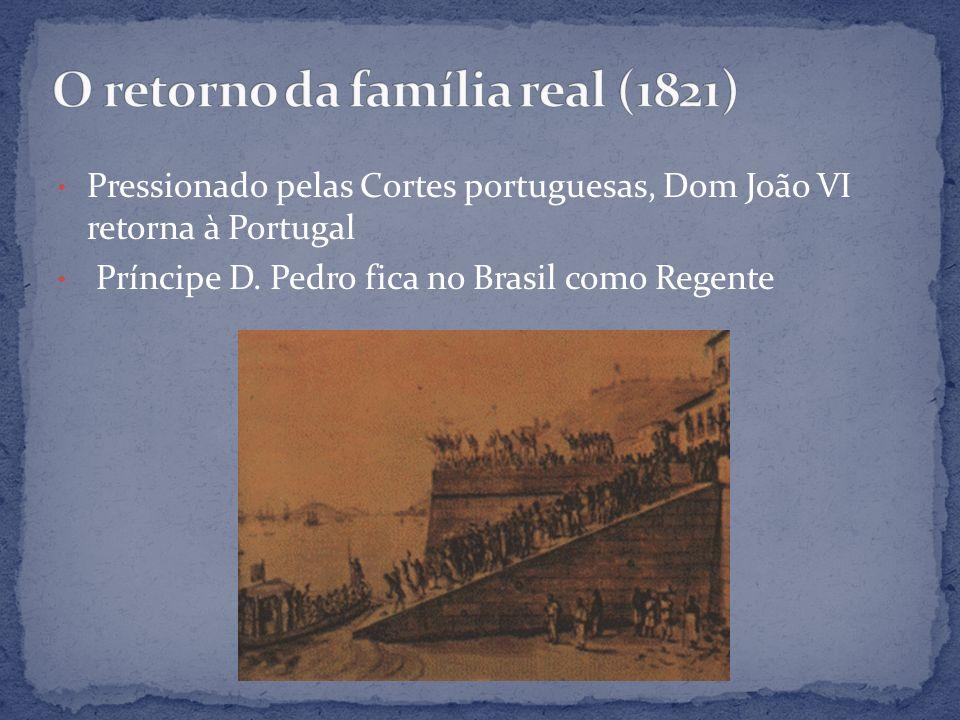 Pressionado pelas Cortes portuguesas, Dom João VI retorna à Portugal Príncipe D. Pedro fica no Brasil como Regente
