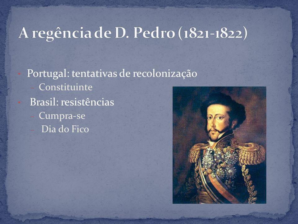 Portugal: tentativas de recolonização – Constituinte Brasil: resistências – Cumpra-se – Dia do Fico