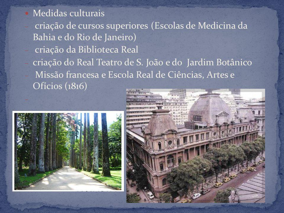 Medidas culturais – criação de cursos superiores (Escolas de Medicina da Bahia e do Rio de Janeiro) – criação da Biblioteca Real – criação do Real Teatro de S.