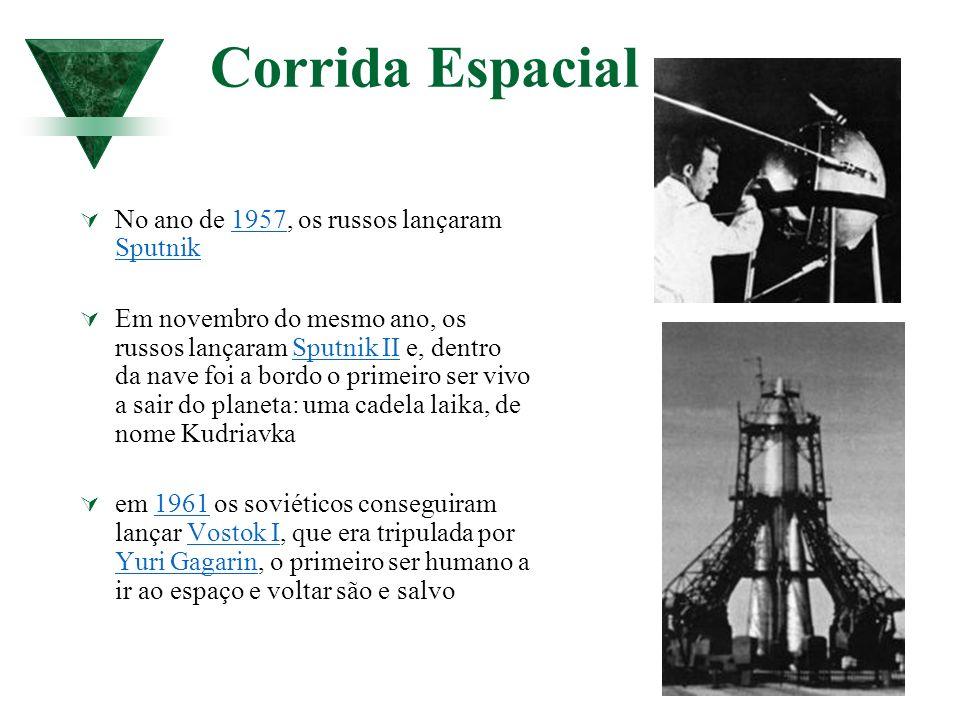 Corrida Espacial No ano de 1957, os russos lançaram Sputnik1957 Sputnik Em novembro do mesmo ano, os russos lançaram Sputnik II e, dentro da nave foi