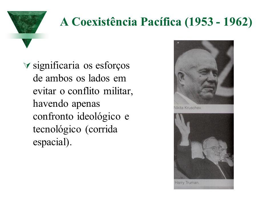 A Coexistência Pacífica (1953 - 1962) significaria os esforços de ambos os lados em evitar o conflito militar, havendo apenas confronto ideológico e t