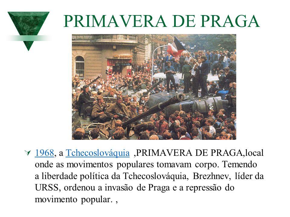 PRIMAVERA DE PRAGA 1968, a Tchecoslováquia,PRIMAVERA DE PRAGA,local onde as movimentos populares tomavam corpo. Temendo a liberdade política da Tcheco
