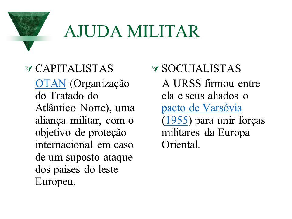 AJUDA MILITAR CAPITALISTAS OTAN (Organização do Tratado do Atlântico Norte), uma aliança militar, com o objetivo de proteção internacional em caso de