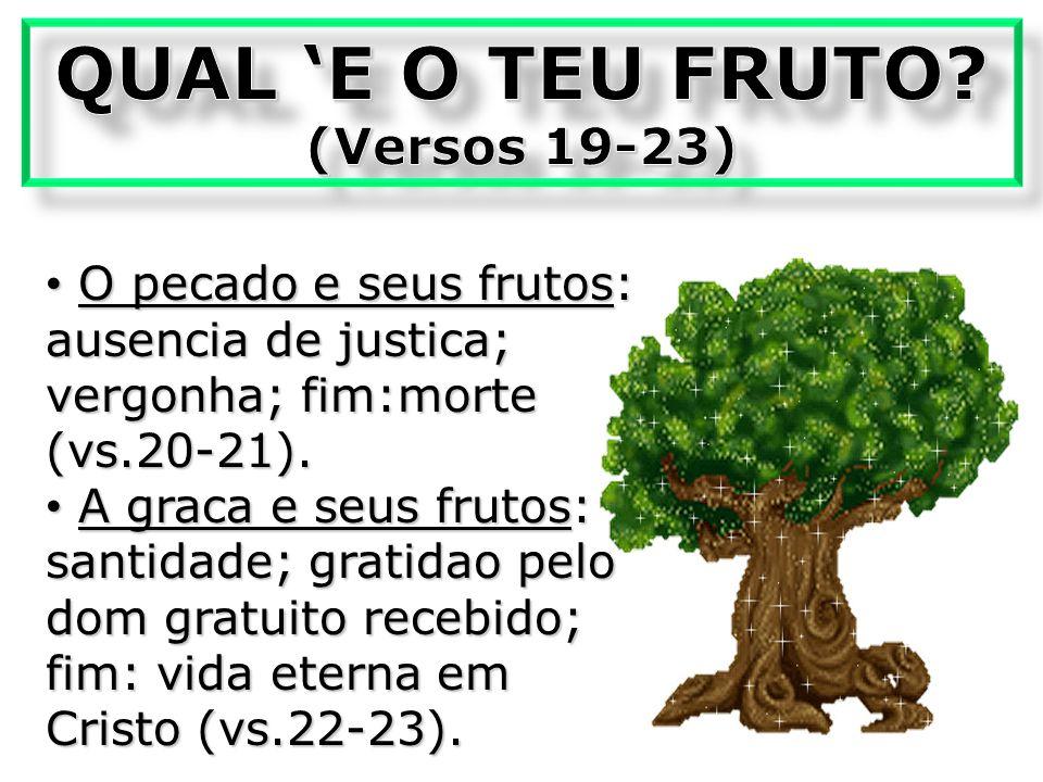 O pecado e seus frutos: ausencia de justica; vergonha; fim:morte (vs.20-21).