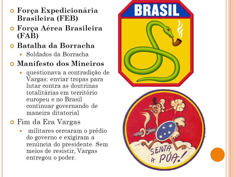 Força Expedicionária Brasileira (FEB) Força Aérea Brasileira (FAB) Batalha da Borracha Soldados da Borracha Manifesto dos Mineiros questionava a contr