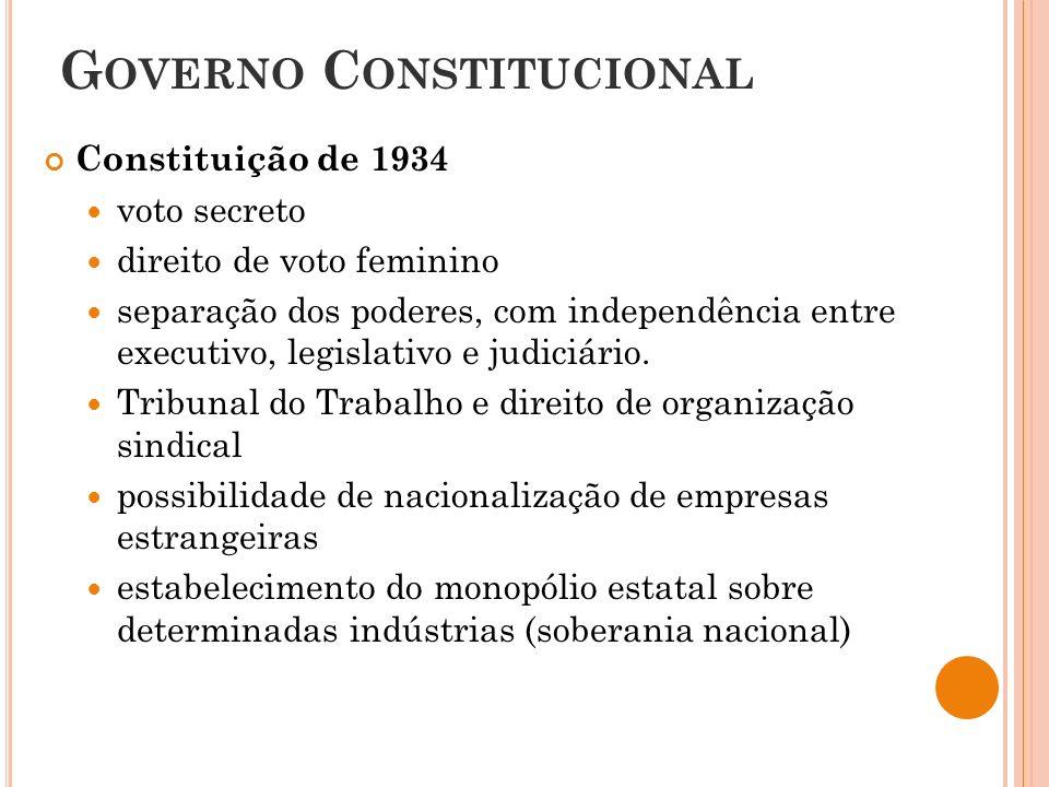 G OVERNO C ONSTITUCIONAL Constituição de 1934 voto secreto direito de voto feminino separação dos poderes, com independência entre executivo, legislativo e judiciário.