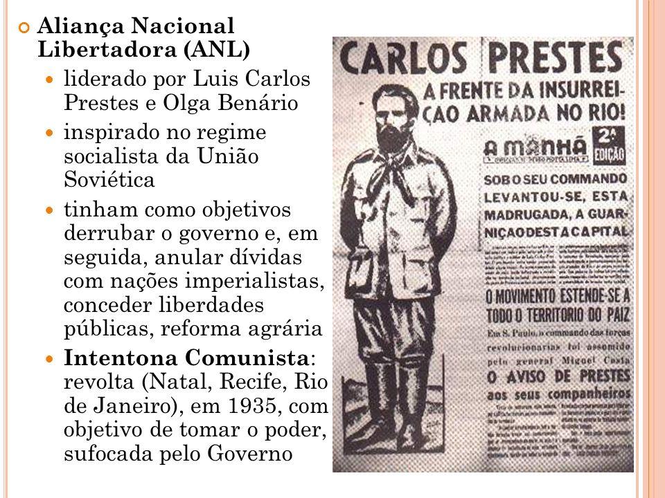 Aliança Nacional Libertadora (ANL) liderado por Luis Carlos Prestes e Olga Benário inspirado no regime socialista da União Soviética tinham como objet