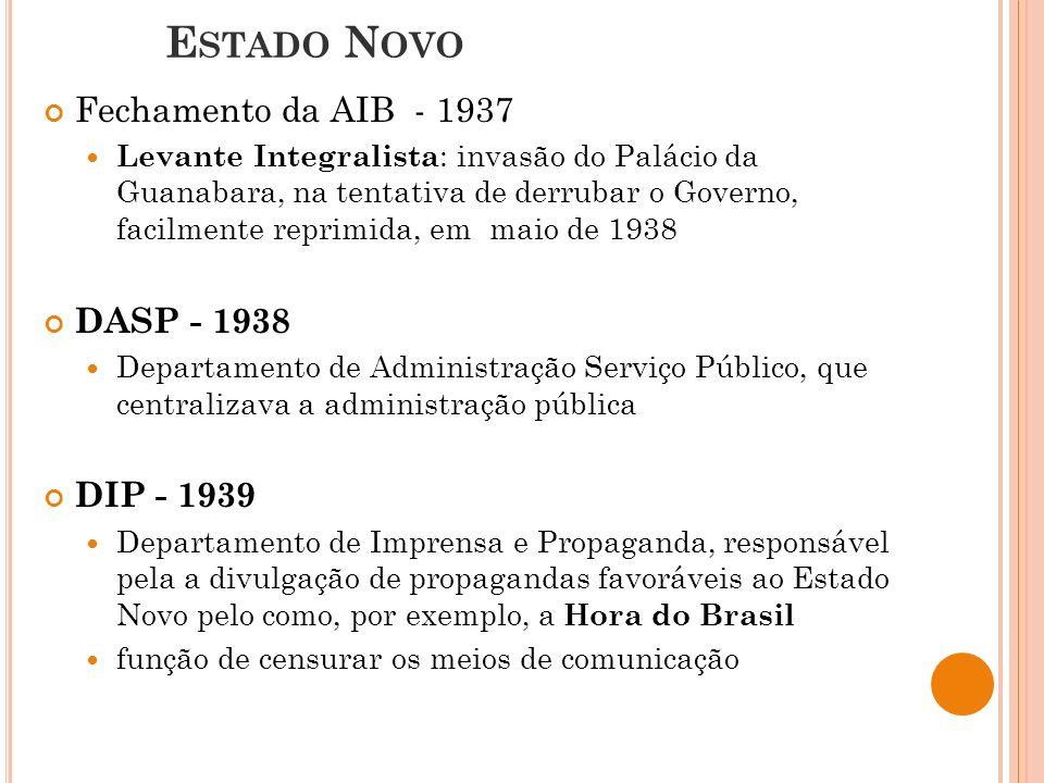 E STADO N OVO Fechamento da AIB - 1937 Levante Integralista : invasão do Palácio da Guanabara, na tentativa de derrubar o Governo, facilmente reprimida, em maio de 1938 DASP - 1938 Departamento de Administração Serviço Público, que centralizava a administração pública DIP - 1939 Departamento de Imprensa e Propaganda, responsável pela a divulgação de propagandas favoráveis ao Estado Novo pelo como, por exemplo, a Hora do Brasil função de censurar os meios de comunicação