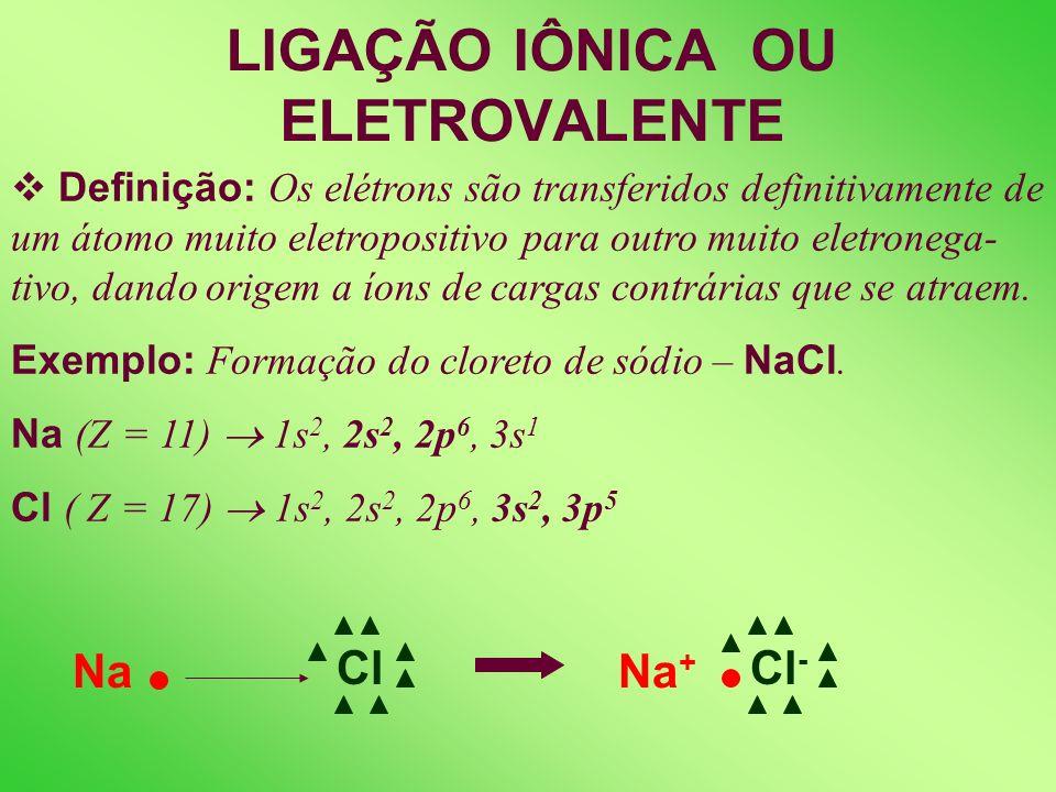 LIGAÇÃO IÔNICA OU ELETROVALENTE Definição: Os elétrons são transferidos definitivamente de um átomo muito eletropositivo para outro muito eletronega- tivo, dando origem a íons de cargas contrárias que se atraem.