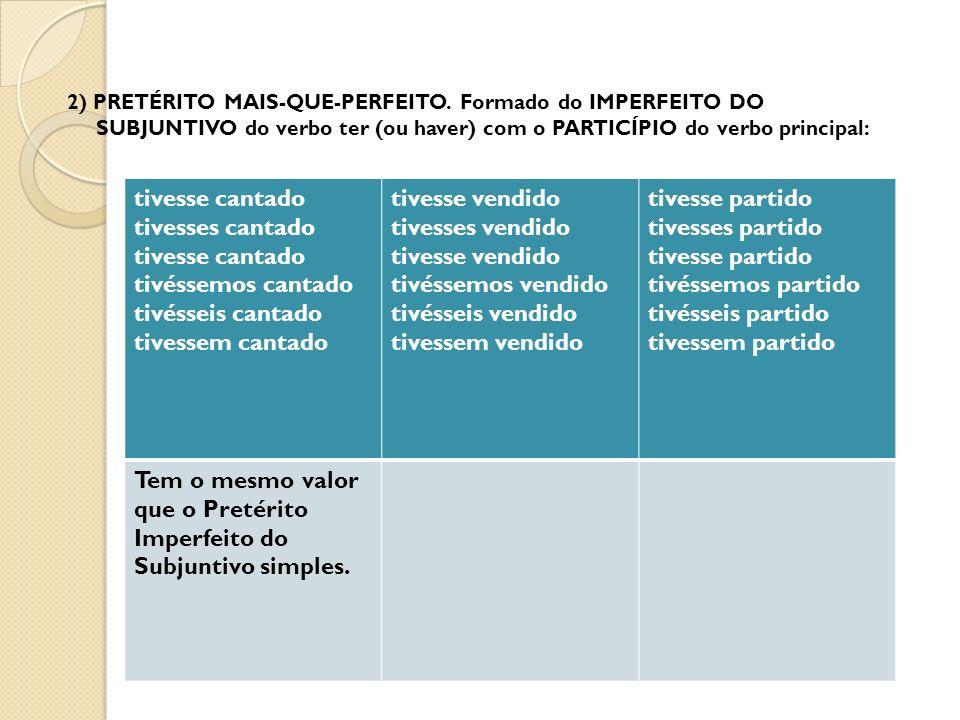 2) PRETÉRITO MAIS-QUE-PERFEITO.