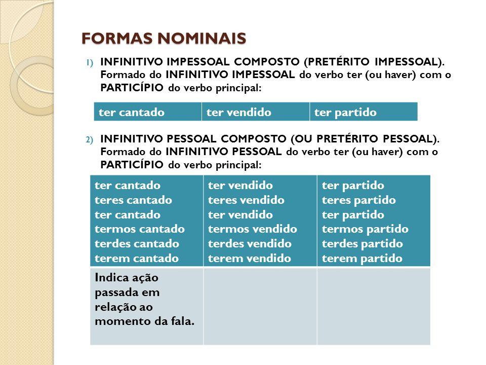 FORMAS NOMINAIS 1) INFINITIVO IMPESSOAL COMPOSTO (PRETÉRITO IMPESSOAL).