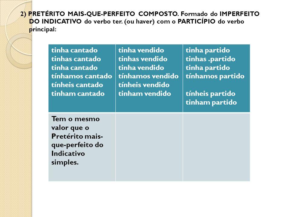 2) PRETÉRITO MAIS-QUE-PERFEITO COMPOSTO.Formado do IMPERFEITO DO INDICATIVO do verbo ter.