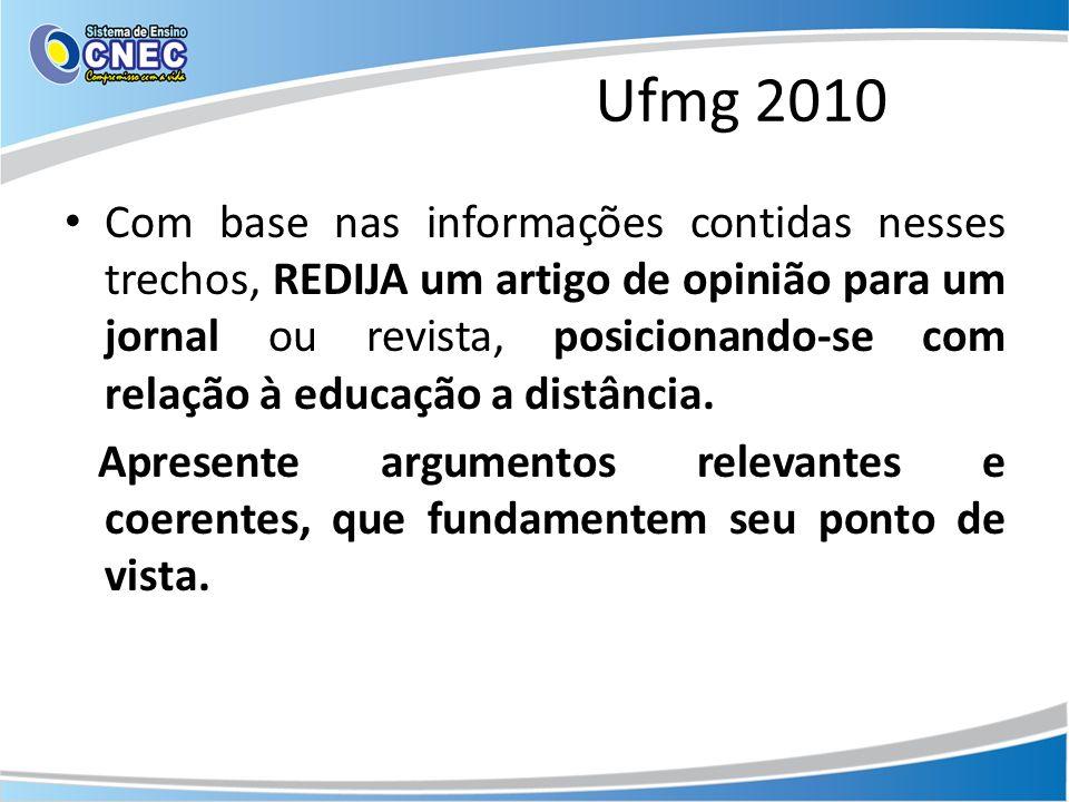 Ufmg 2010 Com base nas informações contidas nesses trechos, REDIJA um artigo de opinião para um jornal ou revista, posicionando-se com relação à educa