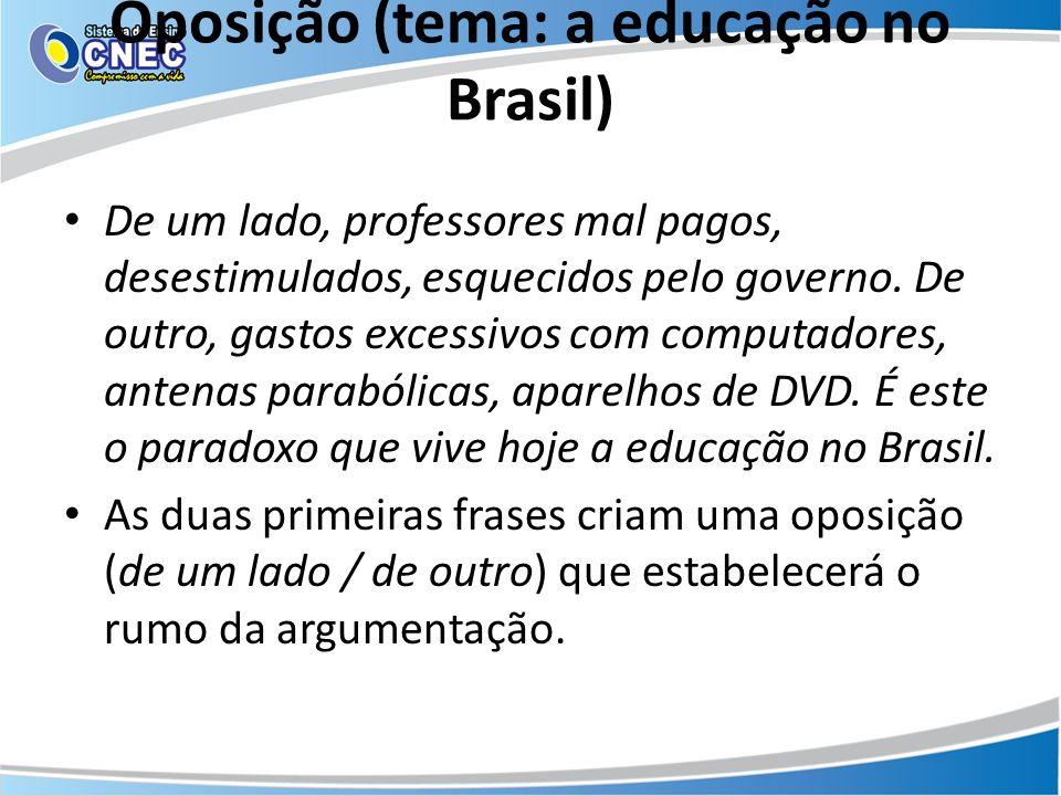 Oposição (tema: a educação no Brasil) De um lado, professores mal pagos, desestimulados, esquecidos pelo governo. De outro, gastos excessivos com comp
