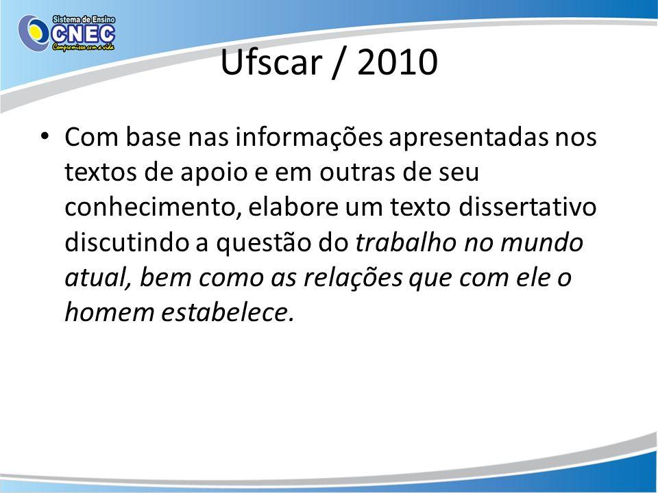 Ufscar / 2010 Com base nas informações apresentadas nos textos de apoio e em outras de seu conhecimento, elabore um texto dissertativo discutindo a qu