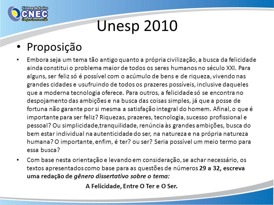 Unesp 2010 Proposição Embora seja um tema tão antigo quanto a própria civilização, a busca da felicidade ainda constitui o problema maior de todos os