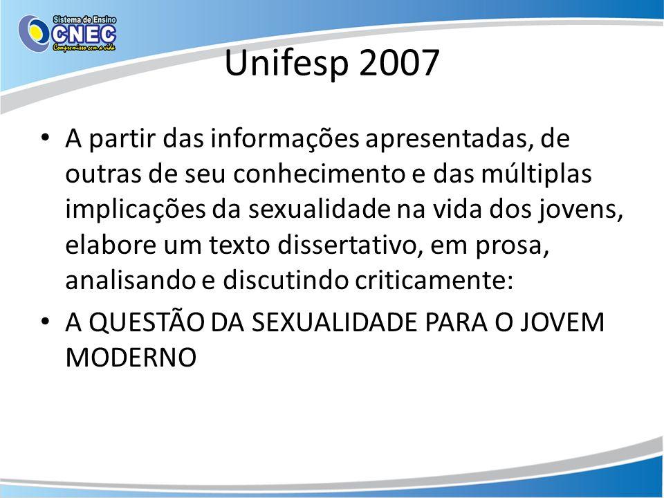 Unifesp 2007 A partir das informações apresentadas, de outras de seu conhecimento e das múltiplas implicações da sexualidade na vida dos jovens, elabo