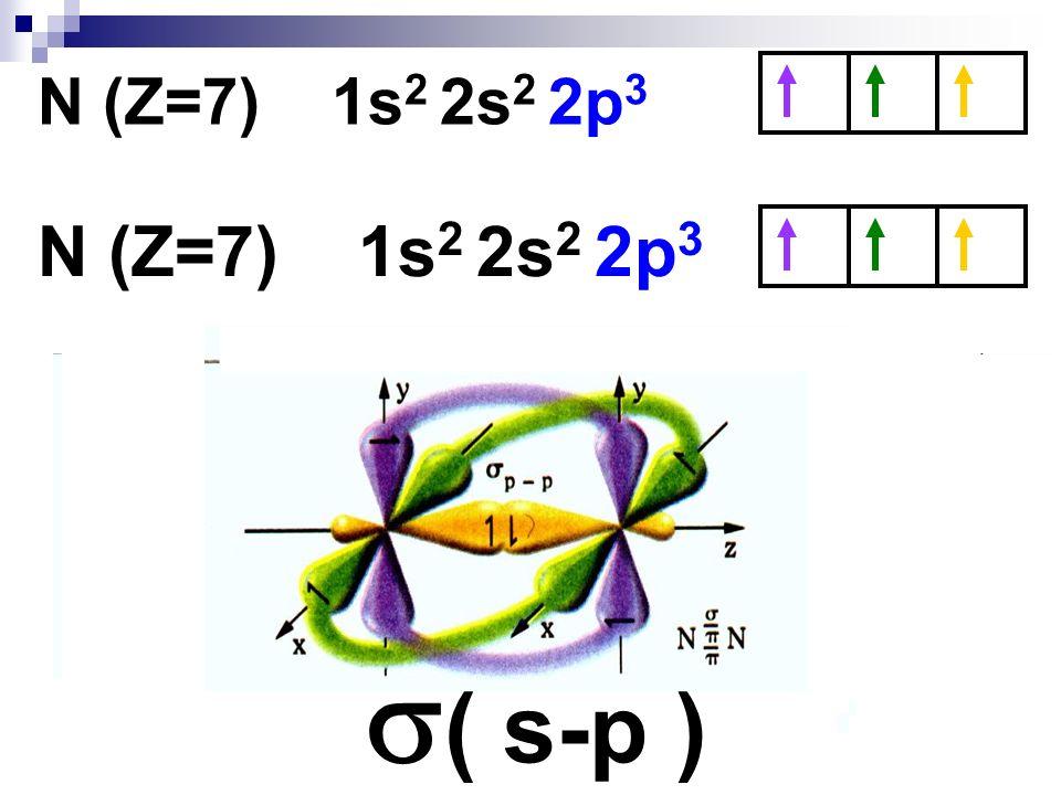 N (Z=7) 1s 2 2s 2 2p 3 ( s-p )