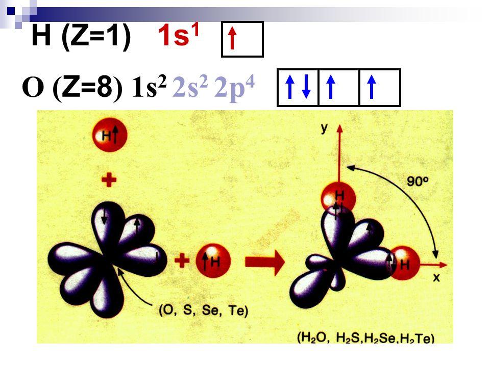O ( Z = 8 ) 1s 2 2s 2 2p 4 H (Z = 1) 1s 1