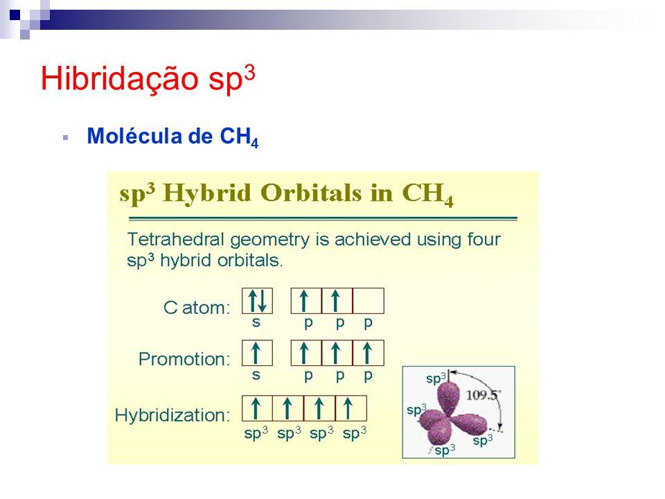 HIBRIDAÇÃOELEMENTOÂNGULOGEOMETRIA sp³ Carbono (Ligação Simples) 109º28Tetraédrica sp² Carbono (Ligação Dupla) 120ºTrigonal Plana sp Carbono (Ligação Uma Tripla ou Duas duplas) 180ºLinear sp² Boro120ºTrigonal Plana sp Berílio180ºLinear sp³d Fósforo90º e 120ºBipirâmide Trigonal sp³d 2 Enxofre90ºOctaédrica