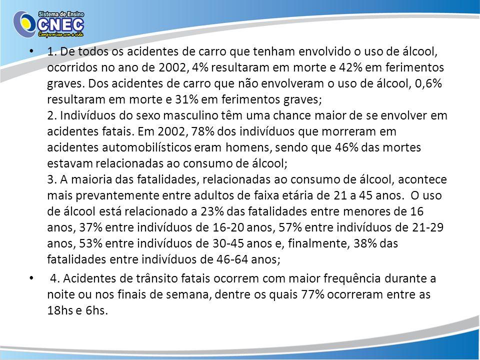 1. De todos os acidentes de carro que tenham envolvido o uso de álcool, ocorridos no ano de 2002, 4% resultaram em morte e 42% em ferimentos graves. D