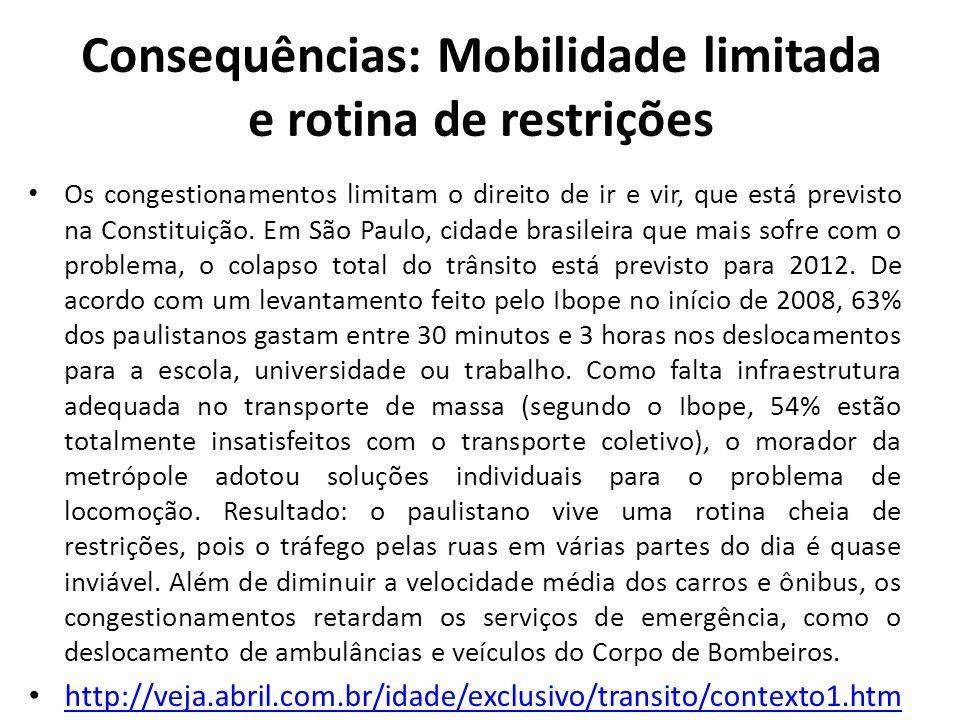Consequências: Mobilidade limitada e rotina de restrições Os congestionamentos limitam o direito de ir e vir, que está previsto na Constituição. Em Sã
