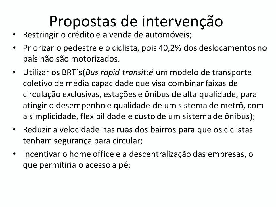 Propostas de intervenção Restringir o crédito e a venda de automóveis; Priorizar o pedestre e o ciclista, pois 40,2% dos deslocamentos no país não são